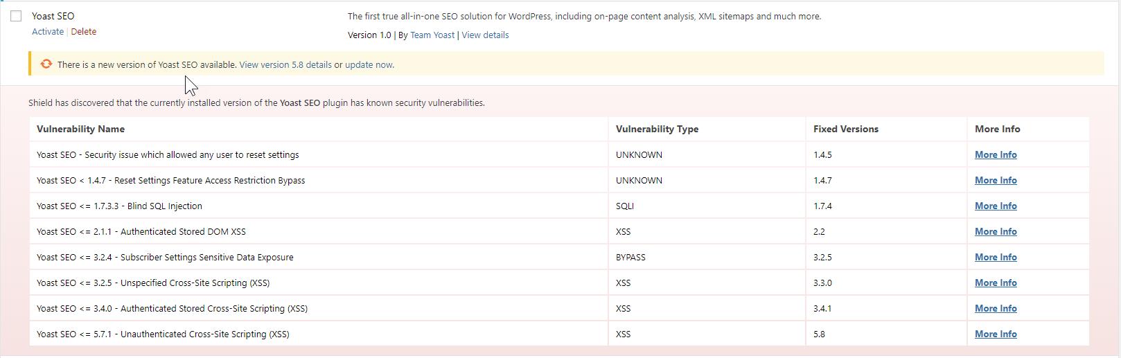Shield Security: Plugin Vulnerabilities Example 1