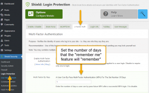 Screenshot: Multi-factor authentication 'remember me'