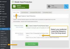 Shield Security: Scanner Frequency Option