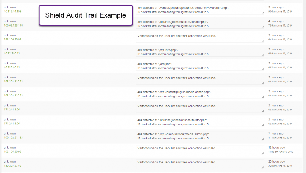 Shield Security Audit Trail Example